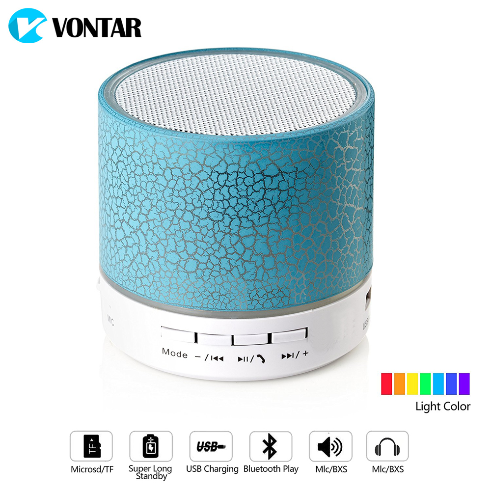 VONTAR LED Bluetooth Speaker Wireless Hands free Portable Speakers Subwoofer Loudspeakers Musical Audio For Phone Mic TF USB FM