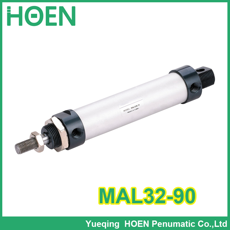 MAL32-90 High quality double acting pneumatic small cylinders aluminum alloy 32mm bore 90mm stroke mini air cylinder auminium alloy mini air cylinder mal32 175 bore 32mm stroke 175mm double acting pneumatic small cylinders