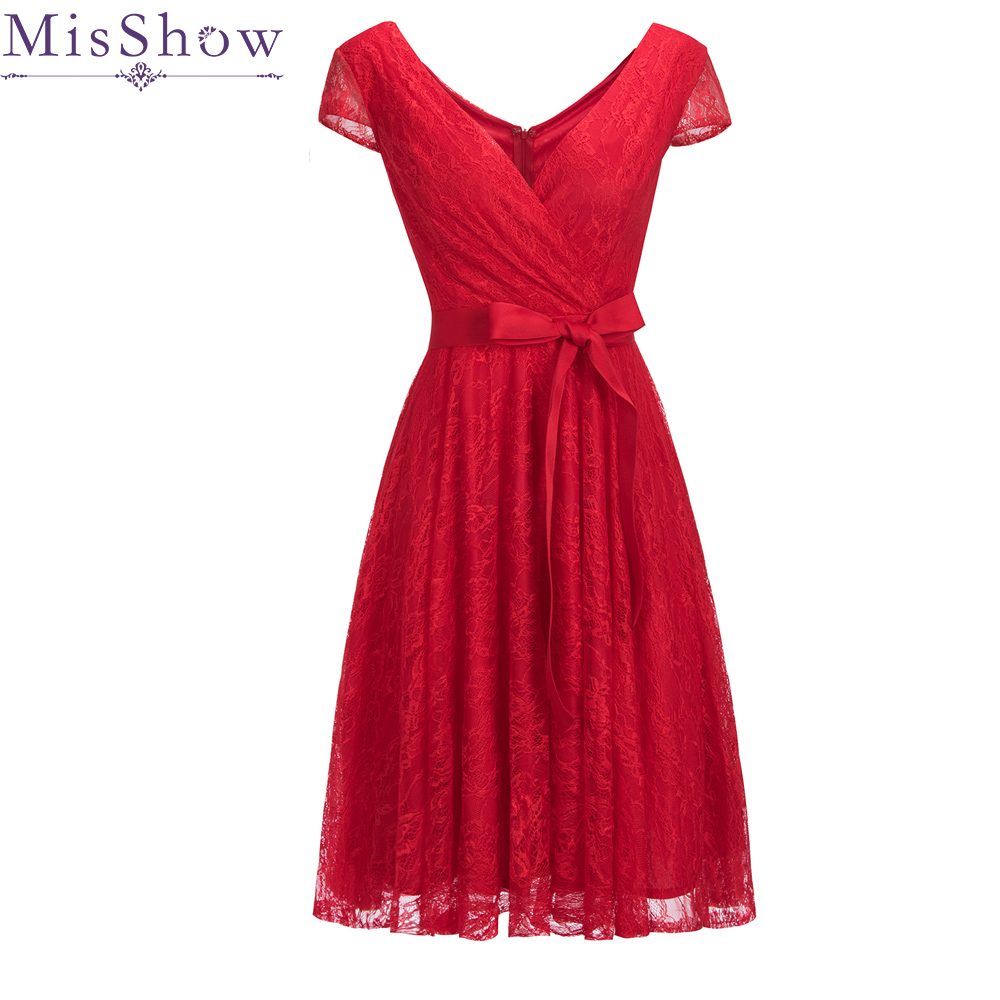 In Stock Red Cocktail Dresses Full Lace Sleeveless Elegant Short Homecoming Dress Chic Formal Dress Short Prom Gown With Belt
