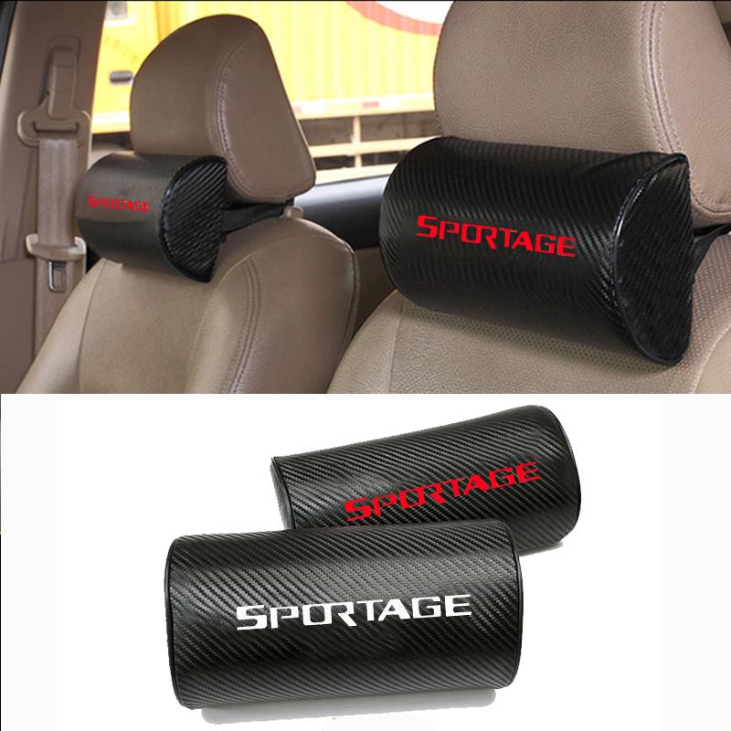 Carbon Fiber Texture PU leather Auto Car Seat Head Neck Rest Cushion Headrest Pad Car Neck Pillow For Kia Sportage