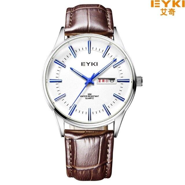 EYKI marca 30 M Impermeable Correa de Cuero Relojes de Negocios Escala Romana Con la Semana de La Moda de Diamantes Marea Calendario Reloj de Cuarzo 1031