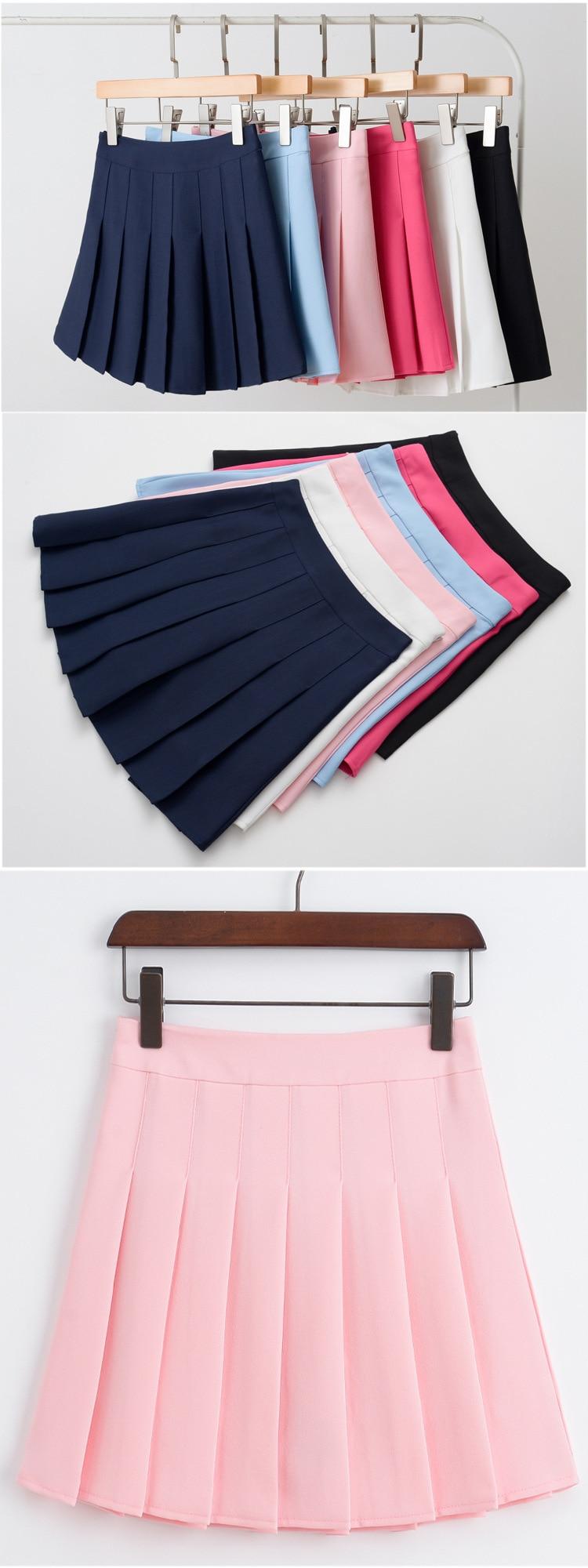 Girls A Lattice Short Dress High Waist Pleated Tennis Skirt Uniform with Inner Shorts Underpants for Badminton Cheerleader-7