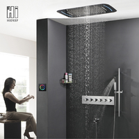HIDEEP Roof Embedded Waterfall Rainfall Shower Head System Polished Chrome LED Shower Faucet Solid Brass Bathroom Shower Set
