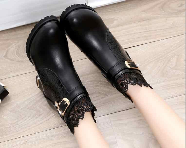 Женские ботинки; сезон осень-зима; коллекция 2018 года; модная женская обувь с вырезами и кружевом; женские кожаные пикантные ботильоны; женская обувь
