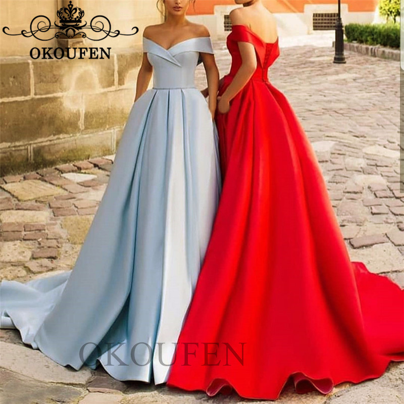 Gorgeous Puffy A Line   Bridesmaid     Dresses   Party For Women 2019 Off Shoulder Long Maid Of Honor   Dress   Wholesale Price