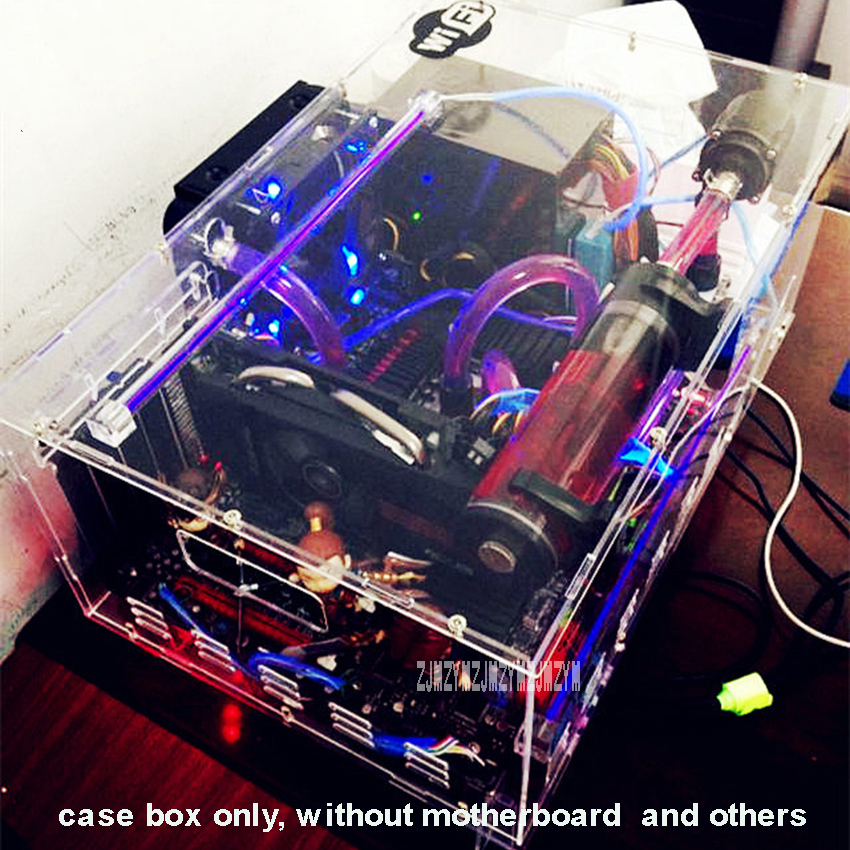 DIY Transparent Acrylic Desktop PC Computer Chassis Case Box for ATX Motherboard Mainboard With USB LED Strip 15-LED Fan стоимость