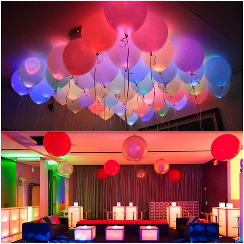 12inch 5pcs Colorful Flash Illuminated LED Balloon Glow In The Dark Sky Lantern Happy Birthday Baloons Party Decoration led ball(China (Mainland))
