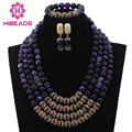 Splendid Grape Purple Agate Beaded African Fashion Jewelry Set Gold Plated Nigerian Wedding Jewellery Set Free Ship WD003