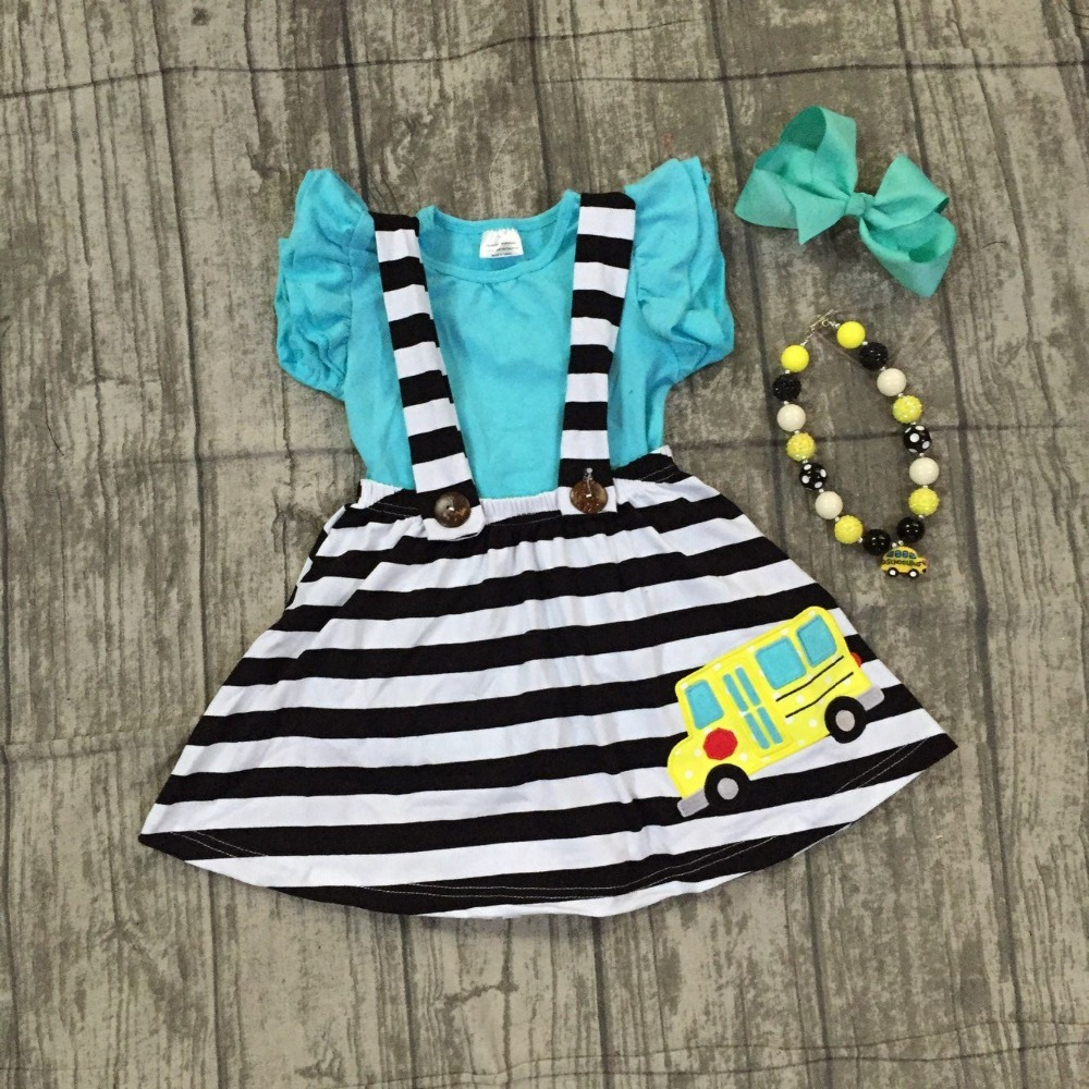 back to school baby girls clothing cotton blue stripe car halter top Button Straps dress boutique flare sleeve match accessories