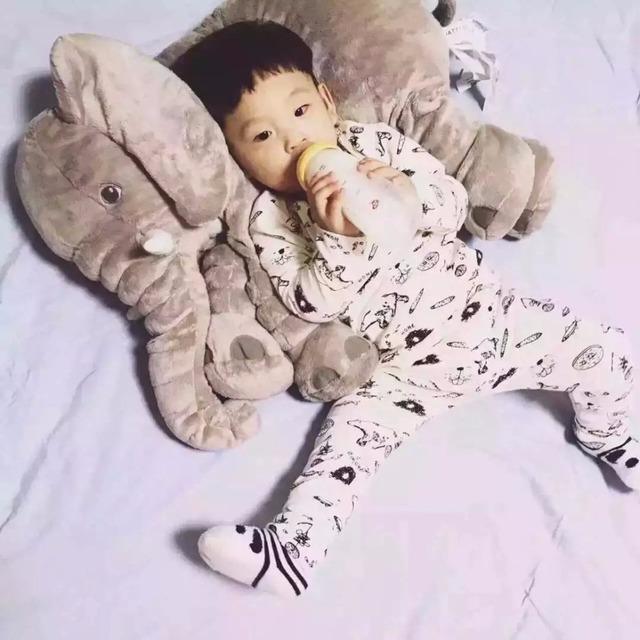60 cm Colorido Elefante Gigante Stuffed Animal de pelúcia Travesseiro Forma Bebê Brinquedos Incluindo o nariz