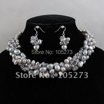 Wholesale Elegant jewelry set Gary crystal fresh water pearl necklace earring magnet clasp 5rows free shipping A2077a