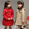 2015 girls long coat baby autumn winter long sleeve casual jacket children cotton-padded clothes kids christmas outwear