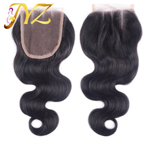 Brazilian Body Wave Closure 4×4 Virgin Human Hair Closure With Bleached Knots  Grade 7A Lace Closure Free Three Middle Part