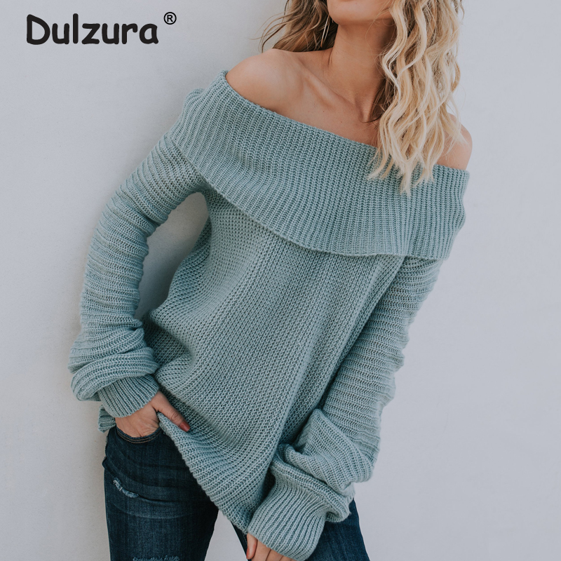 Off Shoulder Mink Sweater Tops Women 2018 Autumn Winter Elastic Pullovers Sweaters Long Sleeve Fashion Jumper Knitted Pull Femme
