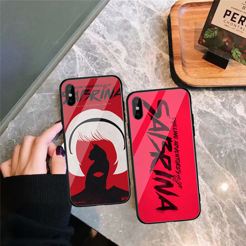 GYKZ Chilling Adventures of Sabrina Glass Phone Case For iPhone X XS MAX XR 8 7 6 6s Plus Luxury Hard Back Cover Trend Coque Bag in Fitted Cases from Cellphones Telecommunications