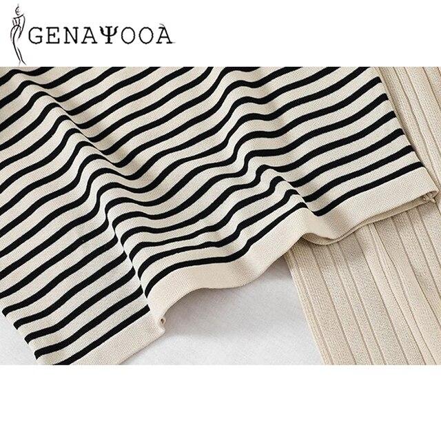 Genayooa Knitted Autumn Office Lady 2 Piece Set Women Pants Elastic Waist Striped O-neck Tshirt Two Piece Set Pants 2019 6