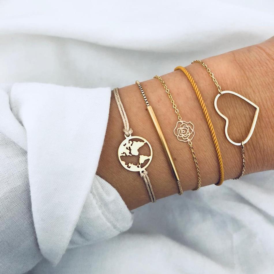 d7b00ec89b4a Pulseras Bohemias de moda para mujeres de oro rosa amor mapa del mundo  ahueca hacia fuera la cadena de la cuerda pulsera del encanto femenino  conjunto de ...