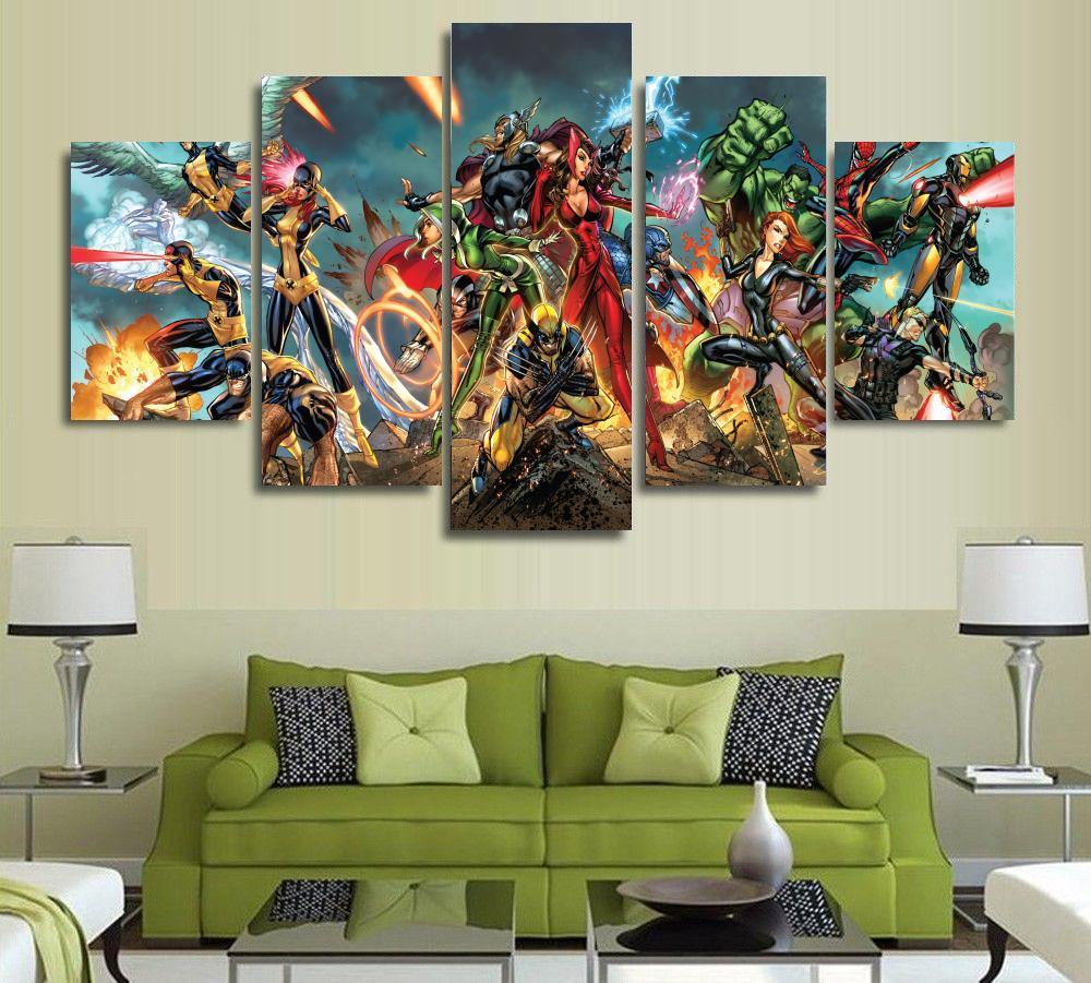 Art Décor: 5 Panels Wall Art Super Hero Marvel Spider Man America Art