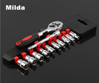 Milda 12 Pcs Ratcheting Socket Set 1 4 Drive Chrome Vanadium Wrench Set Power Tool Accessories
