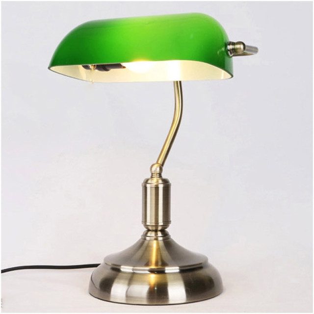 Retro Vintage Table Lamp Emerald Green Glass Lamp Shade Bronze Iron Base  Bank Office Desk Lamp