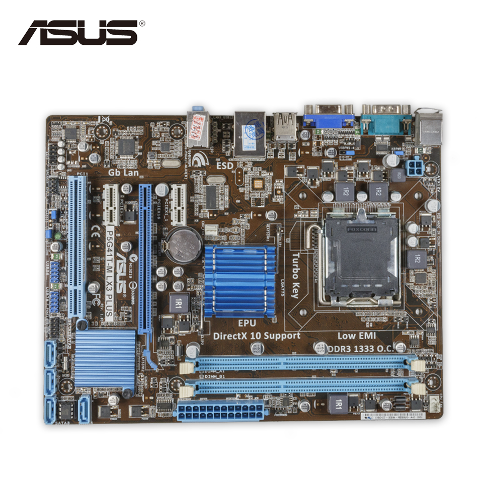 все цены на Asus P5G41T-M LX3 Plus Desktop Motherboard G41 Socket LGA 775 DDR3 8G SATA2 USB2.0 uATX Second-hand High Quality онлайн