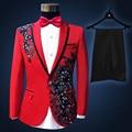 (Paletó + calça) Homens ternos bordado lantejoulas performances cantor masculino vermelho fino ajuste traje do noivo festa de casamento do baile de finalistas vestido de terno