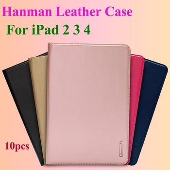 10pcs Hanman Flip Leather Case For iPad 2 3 4 Business Genuine Leather Wallet Card Slot Case Cover
