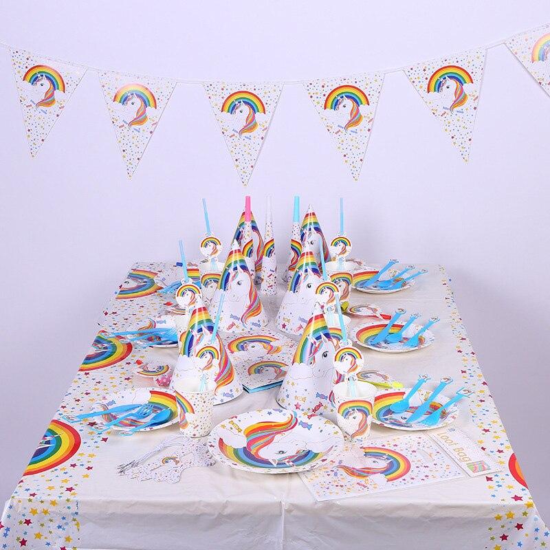 White Unicorn Party Gift Bag Unicornio Plate Popcorn Cup Balloon 1st Birthday Cat Cake Decoration Eenhoorn Favor Supplies