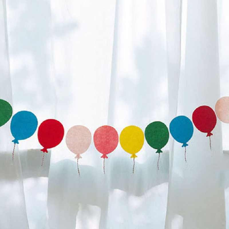 12Pcs Lovely Balloon Paper Garland Banners Flag For Birthday Party Home Wall Hanging Kids Room Decoration