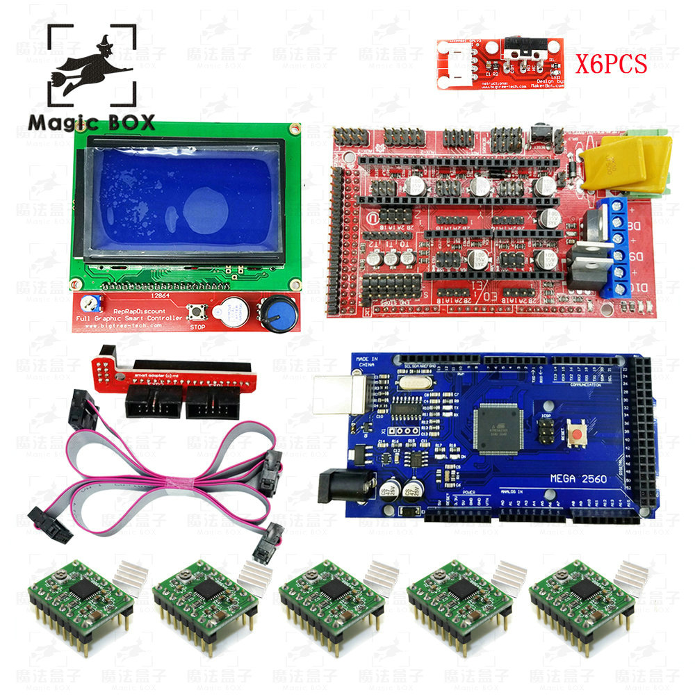 3D Printer kit 1set=1pcs Mega 2560 R3+1pcs RAMPS 1.4 Controller+5pcs A4988 Stepper Driver Module+12864 controller + Endstops, цена и фото