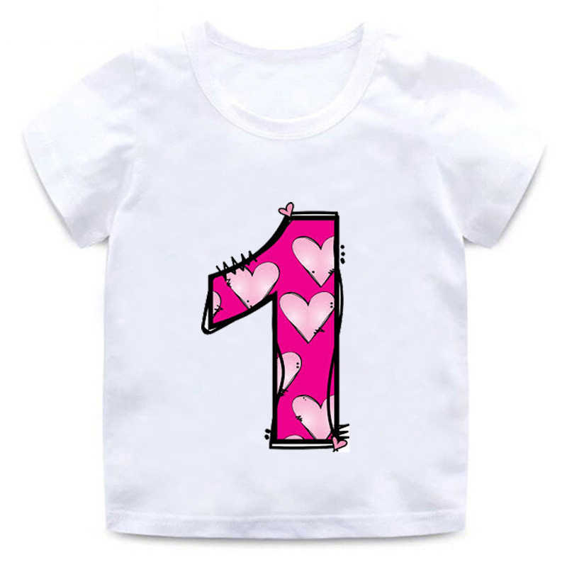 New boys and girls happy birthday letters Love cute print Clothes children Funny cotton Tshirt children Number 1-9 Birthday gift