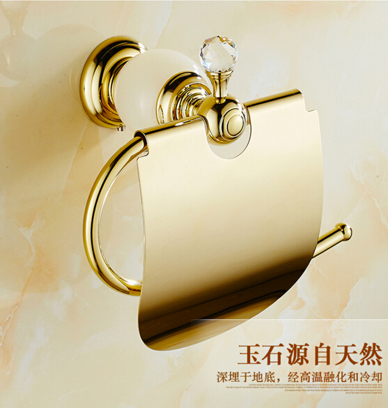 High Quality Gold Toilet Paper Holder ,Brass and Jade Paper Roll Holder,Tissue Holder,Solid Brass -Bathroom Accessories Products polished gold solid brass toilet paper holder tissue box luxury high quality wall mounted roll holder toilet accessories sets t1