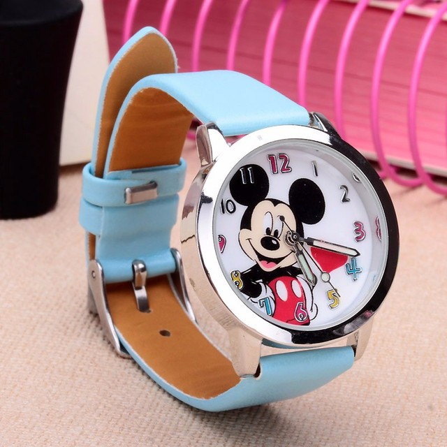 Drop shipping Cartoon Beautiful girl Minnie mouse style Color number dial children students girl's leather quartz watch