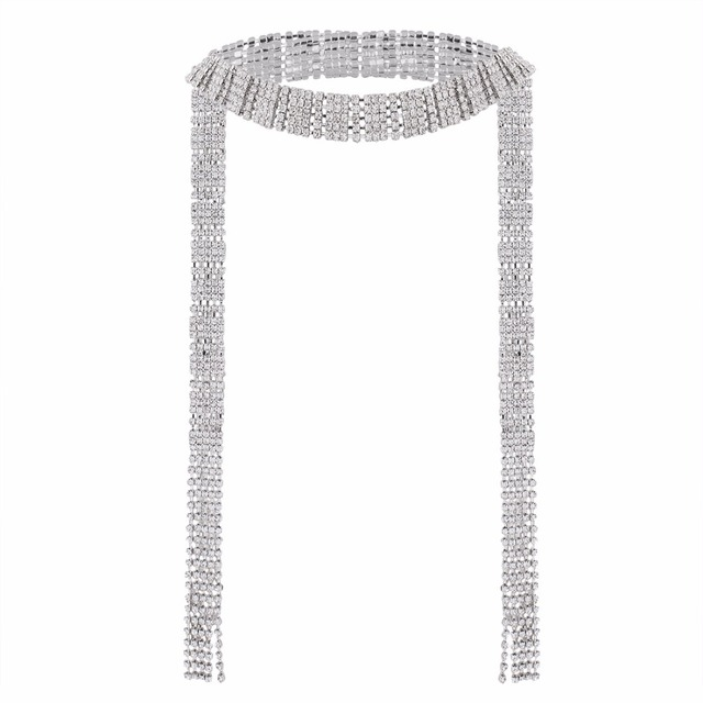 Silver plating Long tassel Multi Row Full Luxury Crystal Chokers Women Jewelry Accessories Declaration Chocker Necklaces Collier