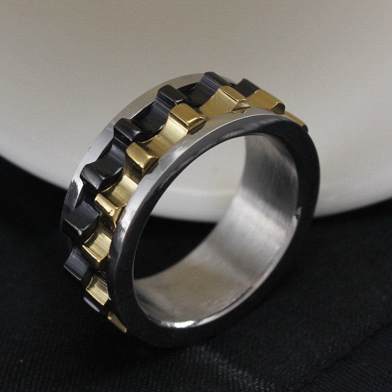 316L Black Stainless Steel Metal Gear Design Rotating Spinner Ring ...
