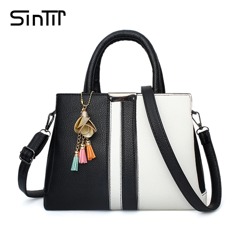 SINTIR Famous Brand Black Striped Women Handbag With Tassel Large Tote Ladies Shoulder Bag High Quality Leather Shopping Bags high quality authentic famous polo golf double clothing bag men travel golf shoes bag custom handbag large capacity45 26 34 cm