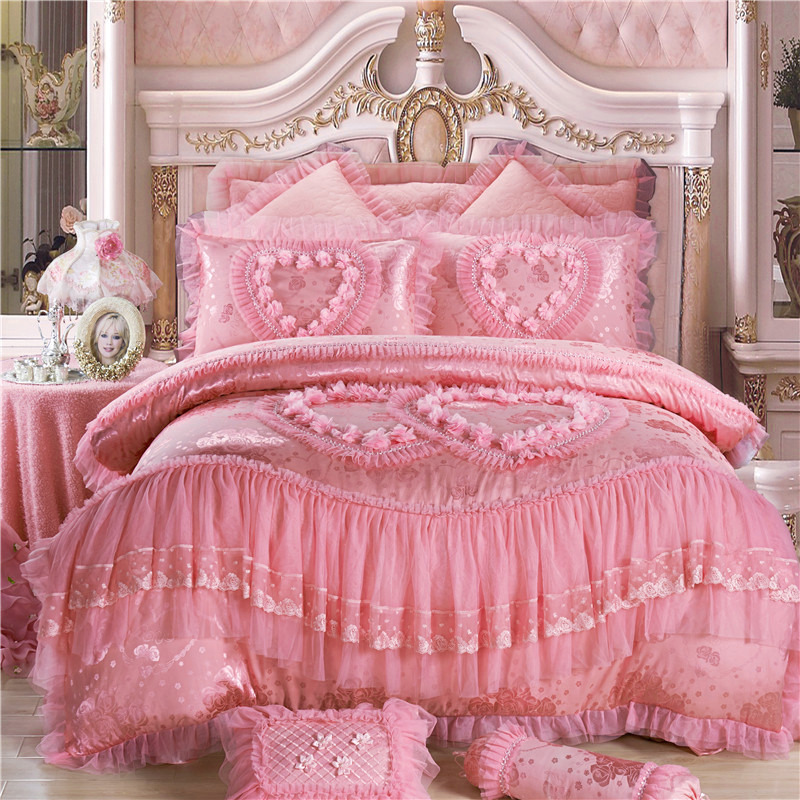 Pink red Color Luxury wedding Bedding Set silk cotton Duvet Cover Bed sheet bed spread Bed Linen Pillowcases 4/6/9pcsPink red Color Luxury wedding Bedding Set silk cotton Duvet Cover Bed sheet bed spread Bed Linen Pillowcases 4/6/9pcs