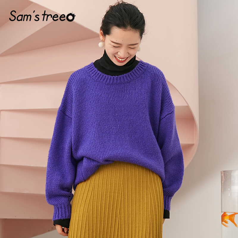 Samstree Casual Winter Women Sweater O neck Drop shoulder Female Knitted Pullover Loose Solid Color Simple