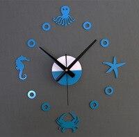 Yeni Varış Deniz Organizma Tasarım sticker EVA 40 CM-70 CM duvar saati 3 colours büyük dekoratif 3d diy duvar saati büyük