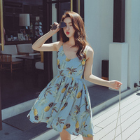 Kobiety Lato Floral Wydrukowano Mini Sukienka Słodka Dziewczyna Sukienka Bez Rękawów z Paskiem Ananas Wzory Linii Sukienki Plażowe