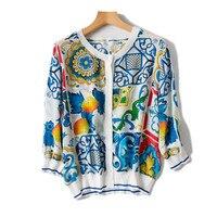 Чистый шелк с Женская мода печатных тонкая рубашка кардиган тройники Oneck многоцветный M/L один и более размер