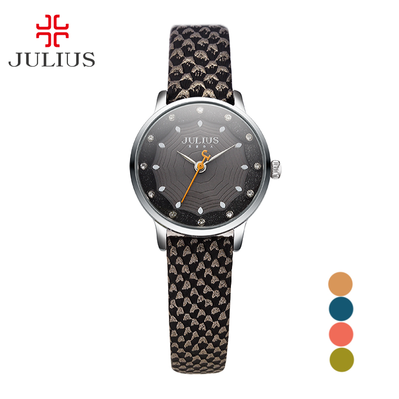 New Julius Lady Woman Wrist Watch Retro Fashion Hours Spider Web Business Dress Bracelet Leather School Girl Birthday Gift 858 top julius lady women s wrist watch elegant shell retro fashion hours bracelet leather girl birthday gift