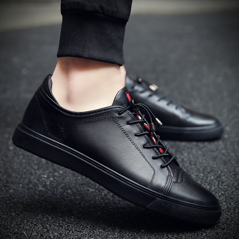 Men's Leather Casual Shoes Classic Fashion Male Lace up Flats Black White Men Krasovki Flat Heel Sneakers tenis masculino 66 cirohuner leather casual men shoes male lace up flats black men krasovki flat heel sneakers tenis masculino comfortable shoes