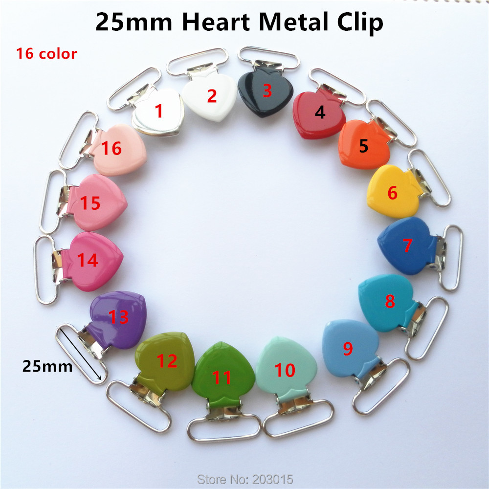 Chenkai 5pcs/lot 1'' 25mm Heart Metal Suspenders Soothers Holder Clips For Baby Shower Dummy Pacifier Chain Clips Lead Free