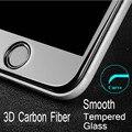 Fibra De Carbono brilhante 3D Curvo Borda de Vidro Temperado Protetor de Tela Para iphone 7 7 plus 6 6 s 6 plus hd limpar vidro temperado cobre