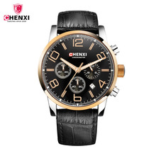CHENXI Watches men Sports Multifunction Men's Wrist Watches Leather Watchband Top Luxury Males Chronograph Quartz Clock relogio