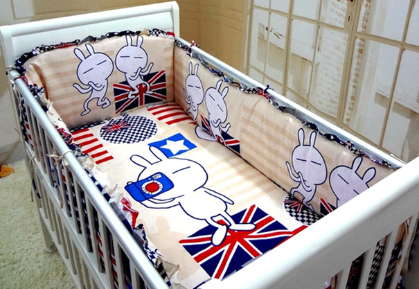 Promotion! 6PCS Baby cot crib bedding set Bumpers for crib.Baby bed sheet.100% cotton ,include(bumper+sheet+pillow cover) promotion 6pcs cartoon baby bedding set cotton crib bumper baby cot sets baby bed bumper include bumpers sheet pillow cover