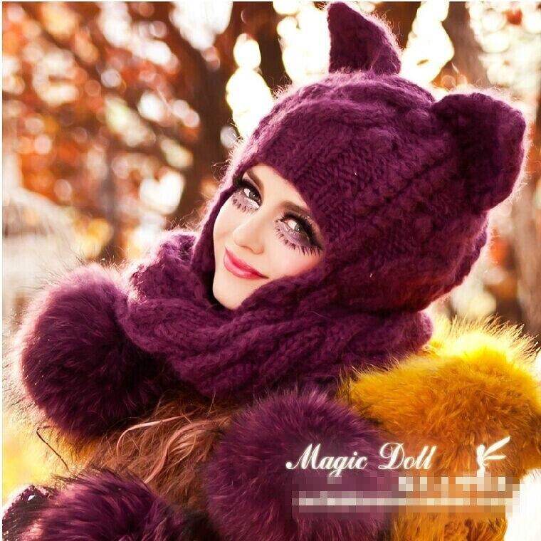Livraison gratuite 2014 violet cheveux lourds boule cache-oreilles tresse écharpe chat oreille magique Angle de laine tricoté chapeaux et gants