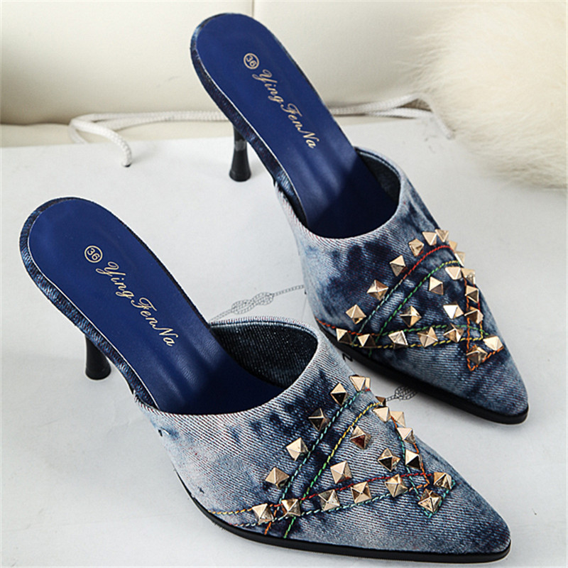 Rivets High Heels Shoes Women Pumps Jeans Denim Slippers Summer Sandals Spring Autum Punk Mujers Zapatos Pointed Toe Slide Shoes guess shoes jeans pumps