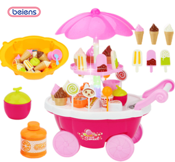 Beiens Brand Toys  Kids Girl Pretend Play Family Kitchen Toys DIY Ice Cream Candy Car Dessert Trolley  ice cream cart toy